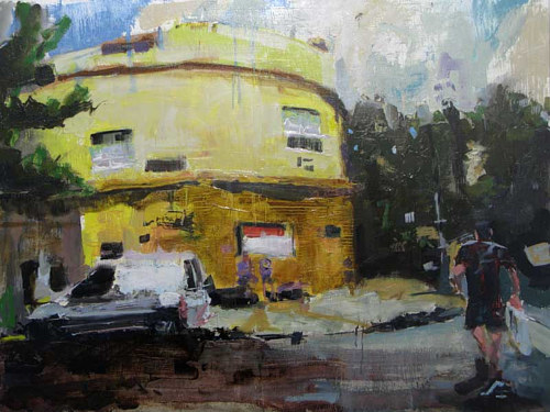 A painting of a street corner in Buenos Aires