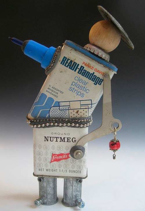 A TEABOT made from a variety of old tins and found materials
