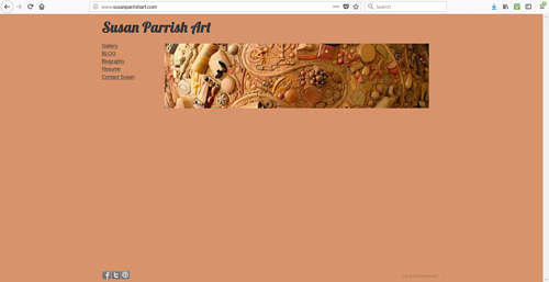 The front page of Susan Parrish' art website