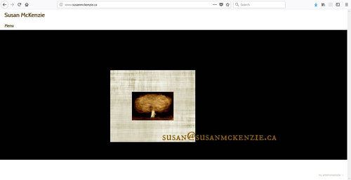 A screen capture of Susan McKenzie's art website