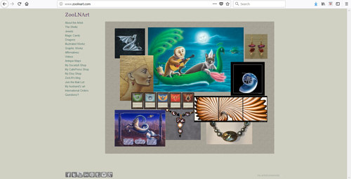 The front page of Sue Ellen Brown's art website