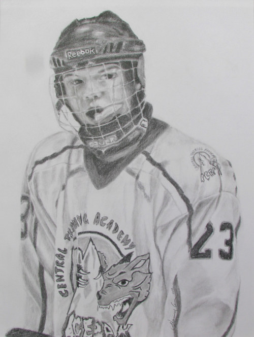 A graphite portrait of a boy in hockey gear