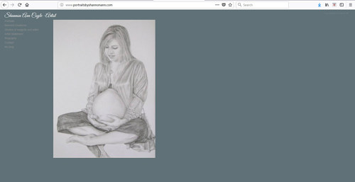 A screen capture of Shannon Anne Coyle's art website