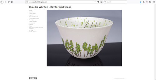 The front page of Claudia Whitten's glass art website
