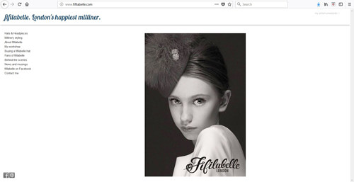 The front page of the Fifilabelle website