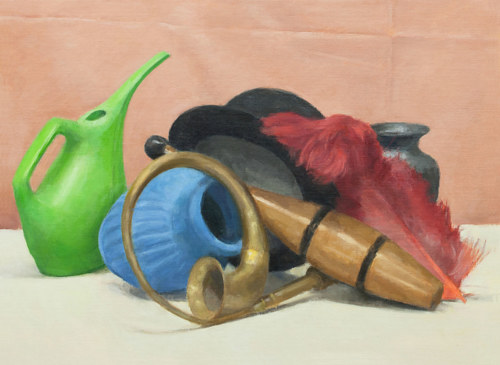A still life painting of some bright objects