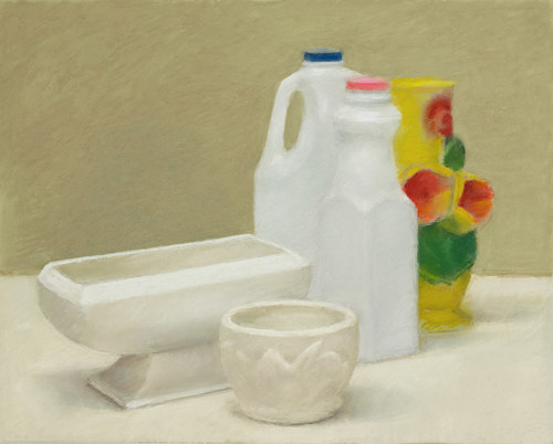 A still life pastel drawing of some milk bottles