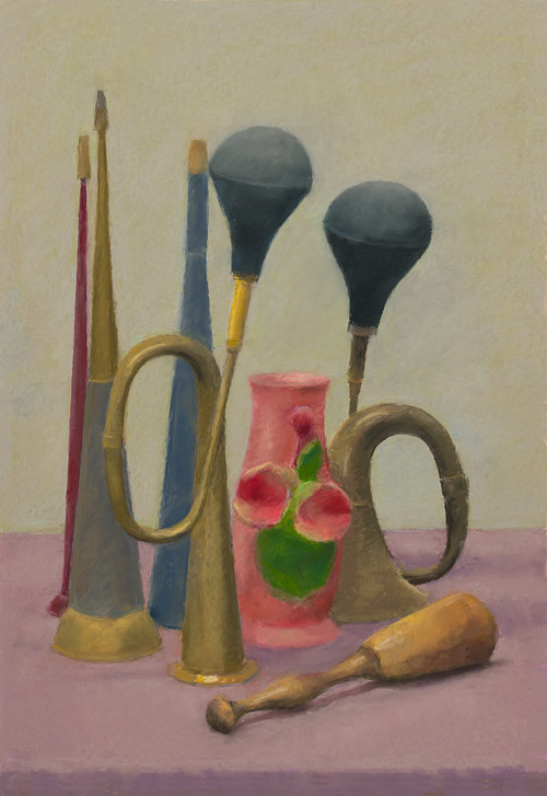 A still life painting of a vase and horns