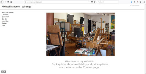 A screen capture of Michael Mahoney's art website