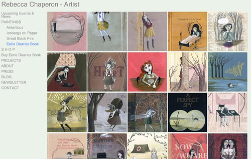 Screenshot of artist website