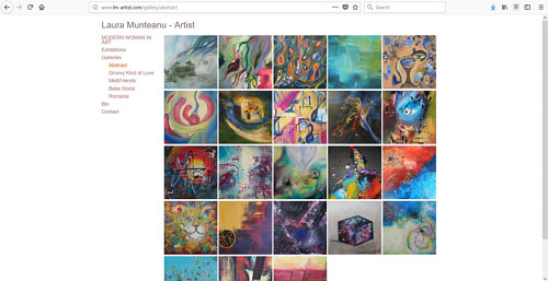 A screen capture of the abstract gallery on Laura Munteanu's website