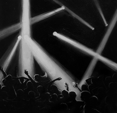 A black and white painting of concert lighting