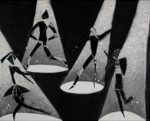 A painting of several glass figures dancing under spotlights
