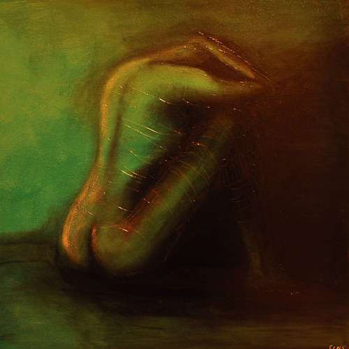 A painting of a curled up figure