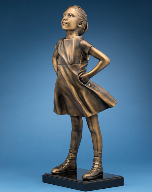A bronze reproduction of Fearless Girl