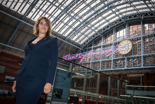 A photo of Tracey Emin with her 2018 anti-Brexit work