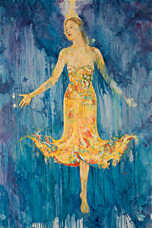 A painting of a female figure on a blue background