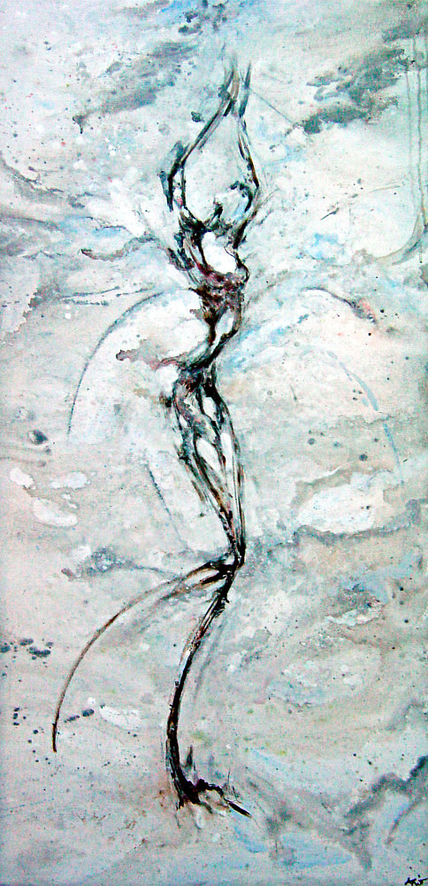 A gestural image of a female figure