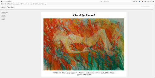 The front page of Ario Mashayekhi's art website