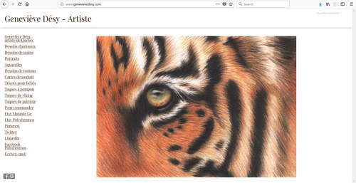 A screen capture of Genevieve Desy's art website