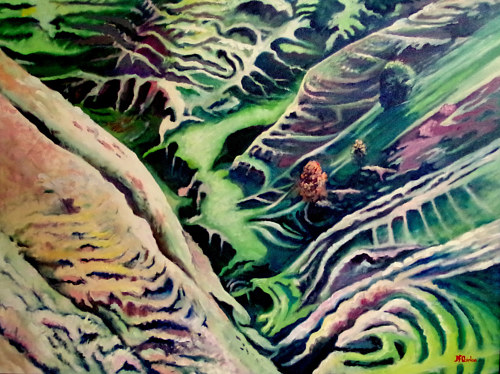 An aerial painting of a New Zealand landscape