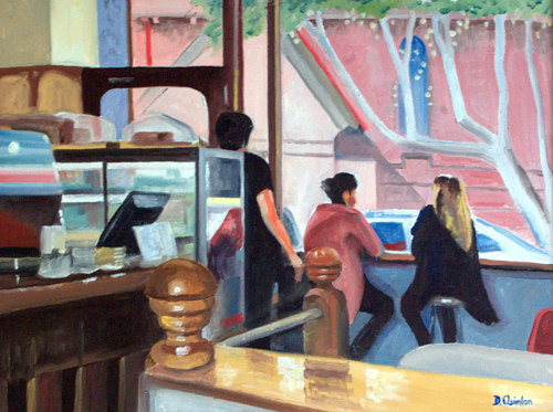 A painting of a cafe scene