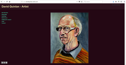 The front page of David Quinlan's art website