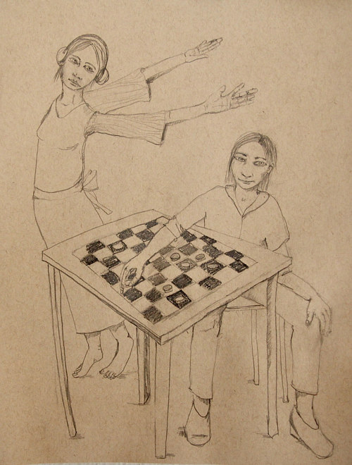 A drawing of two women playing checkers