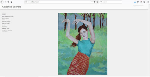 A screen capture of Katherine Bennett's art website