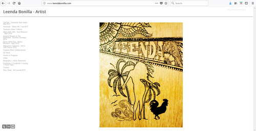A screen cap of Leenda Bonilla's art website