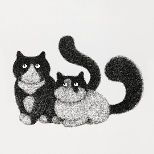 A drawing of two cartoon cats