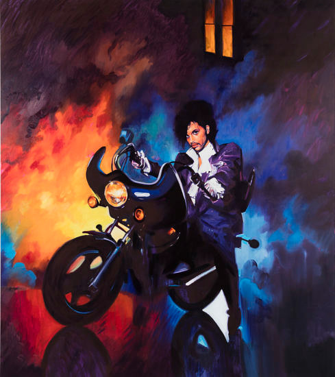 An acrylic and oil painting of a photo of Prince