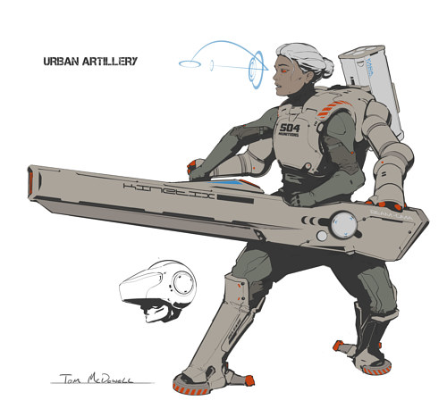 A digital drawing of a science fiction character design