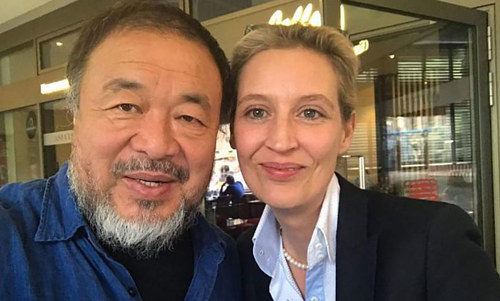 A selfie of Ai Weiwei with German parliamentary leader Alice Weidel