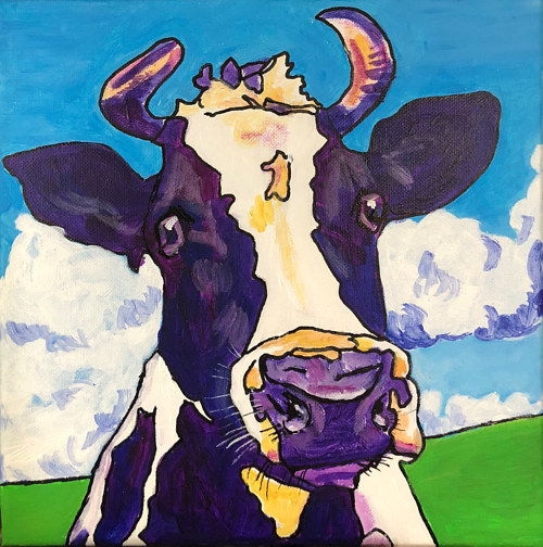 A painting of a purple cow