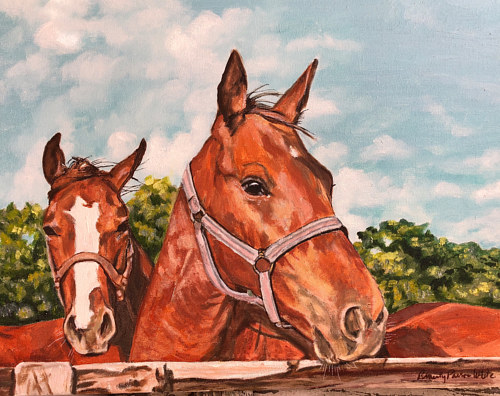 A painting of two horses