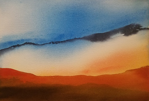 A watercolor painting with the colors of a sunset