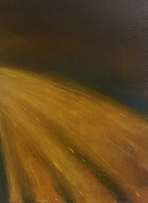 An oil painting of fast-passing streetlights
