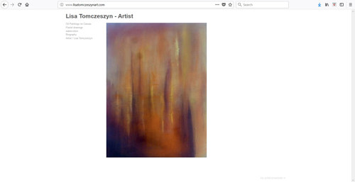 A screen capture of Lisa Tomczeszyn's art website