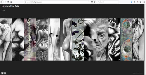 The front page of Michael Lightsey's art portfolio website