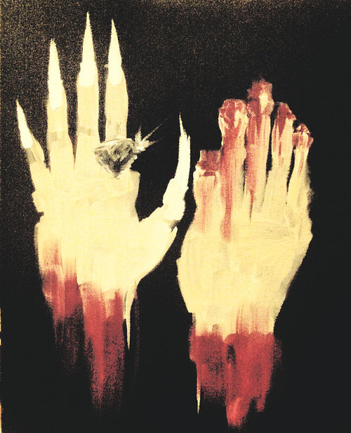 A painting of two abstracted hands