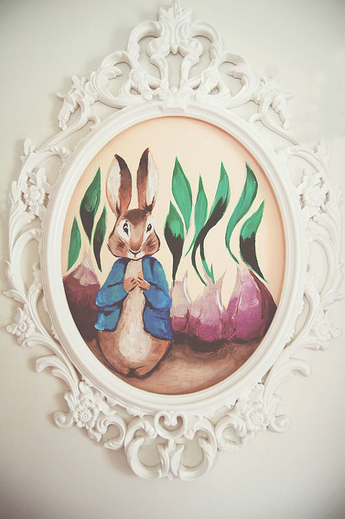 A framed painting of Peter Rabbit