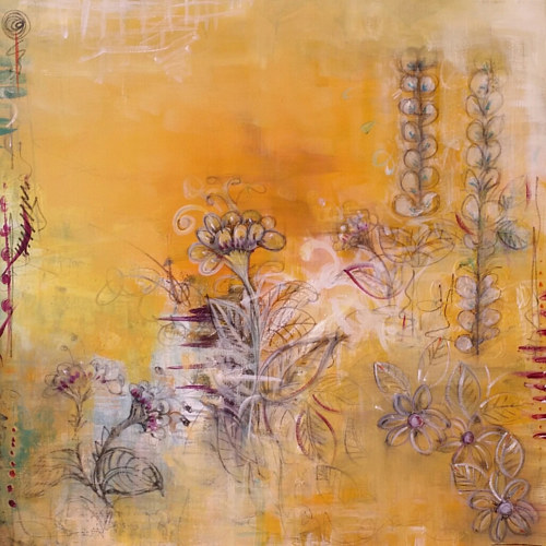 An abstract mixed media work with floral forms on a beige background
