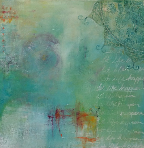 "A hazy blue painting with the text ""let life happen"""