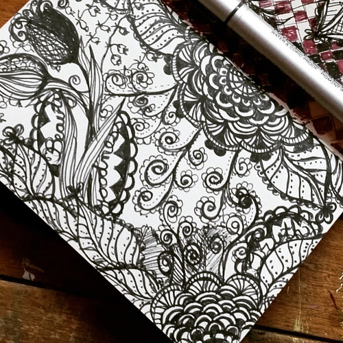 A pen sketch of a floral pattern