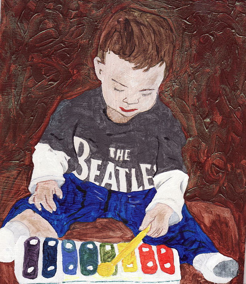 A painting of a young boy playing a xylophone