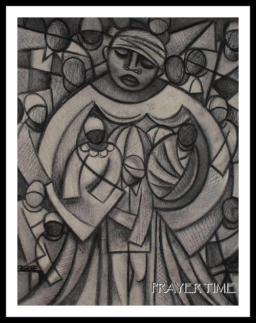 A black and white drawing of a figure holding children and praying
