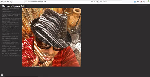 The front page of Michael Kilgore's art website