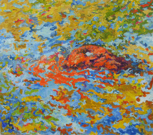 A painting of an orange rock emerging from water
