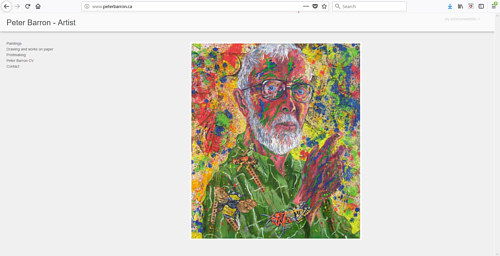 A screen capture of the front page of Peter Barron's art website